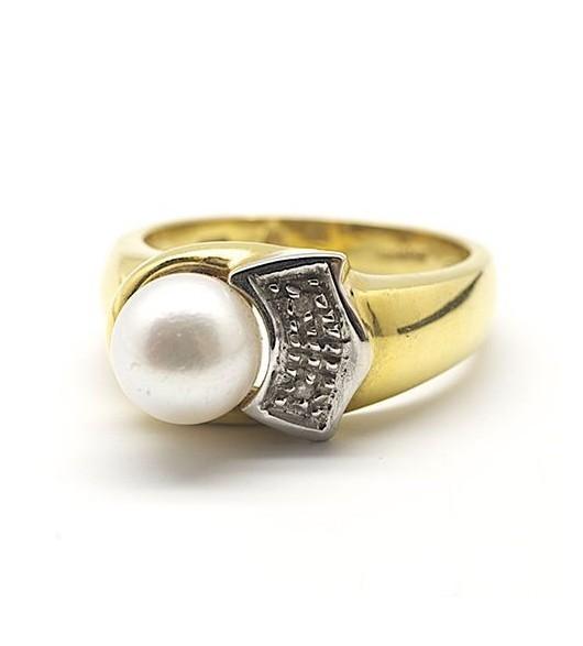 Bague - Or, perle et diamants