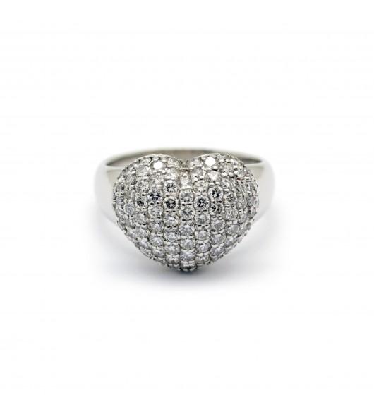 Bague coeur - Platine et diamants