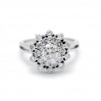 Bague marguerite moderne - diamant de 0,75 carat