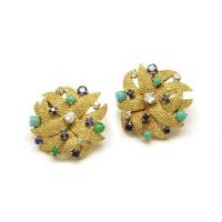 Boucles d'oreilles Or - diamants, saphirs et turquoises