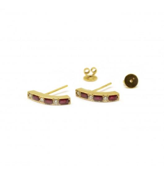 Boucles d'oreilles Or - diamants - rubis