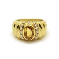 Bague - Saphir jaune et diamants