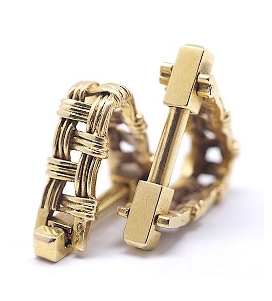 Paire de boutons de manchettes en or tréssé