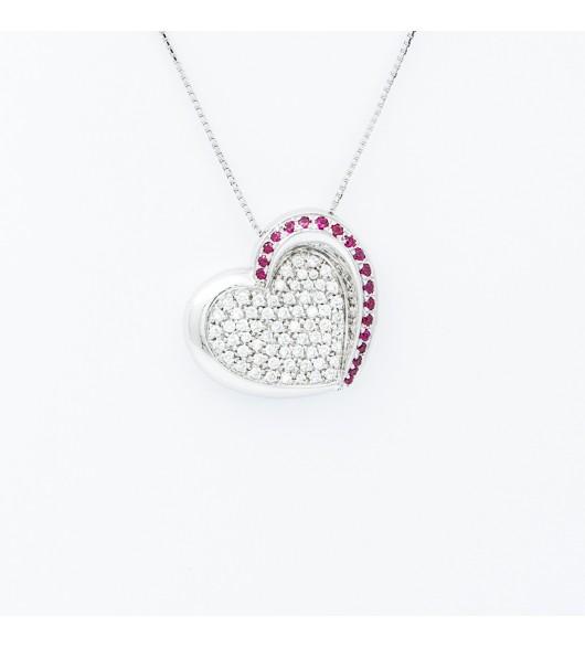Pendentif coeur diamants et rubis