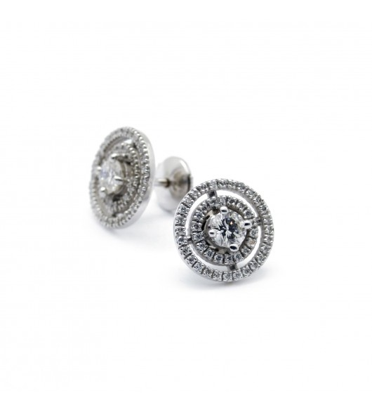 Puces d'oreilles double rang - Diamants