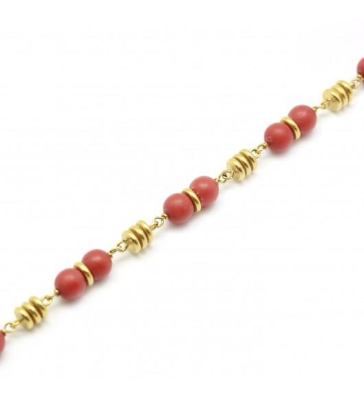 Collier or et perles de corail