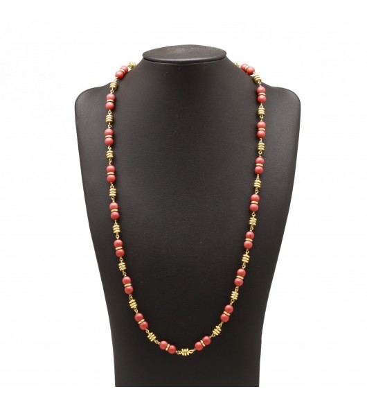 Collier or et perles de corail