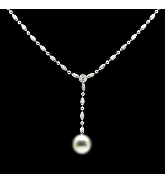 Collier perles et diamants
