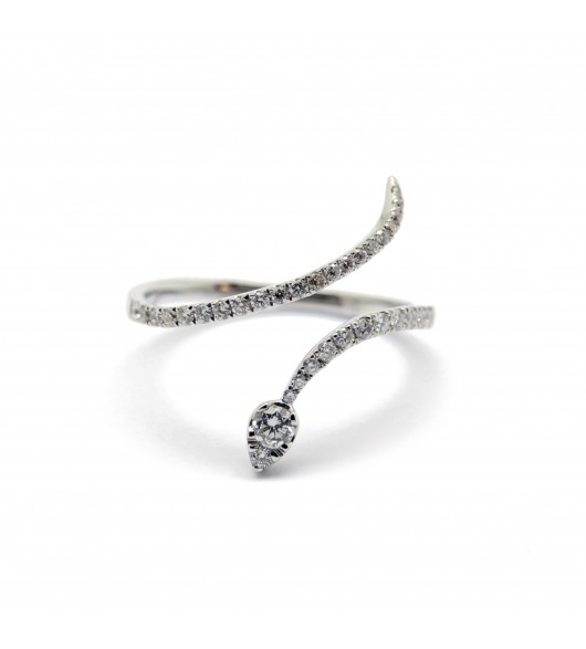 Bague serpentin or et diamants