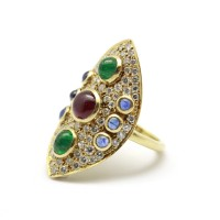 Bague or diamants, rubis, saphirs et emeraudes