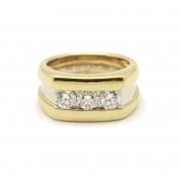 Bague or et platine - 3 diamants
