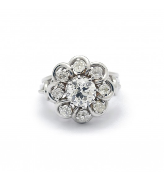 Bague Marguerite en or blanc