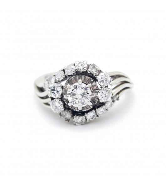 Bague années 60 - or et diamants