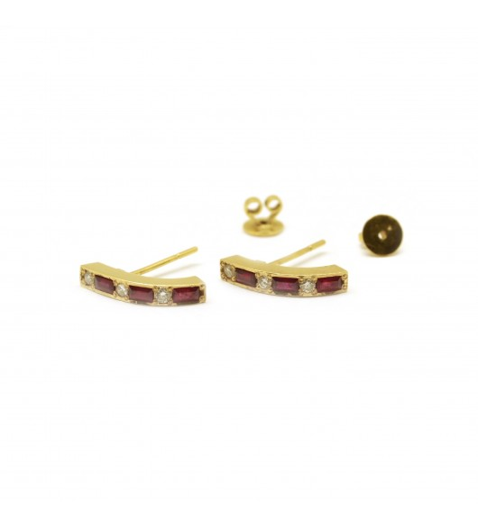 Boucles d'oreilles Or - diamants - rubis