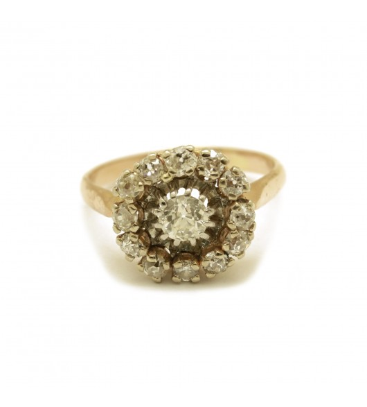 Bague marguerite or et platine - Diamants