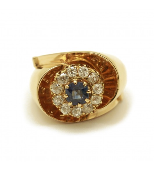 Bague Or - saphir et diamants