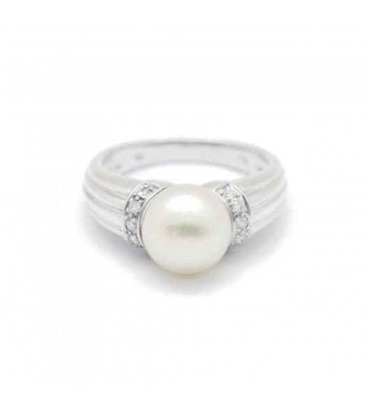 Bague Or - perle et diamants
