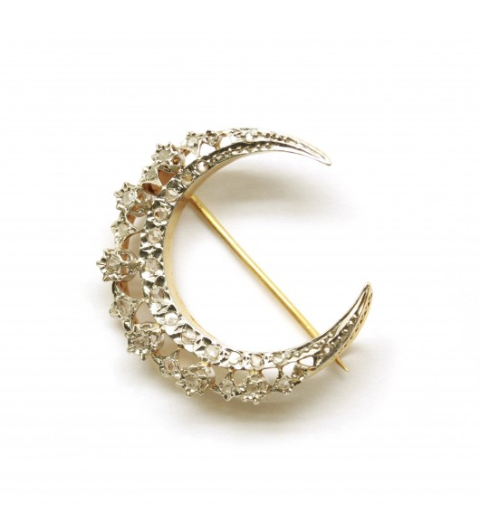 Broche Lune - Or et Platine