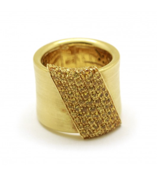 Bague Or - saphirs jaune