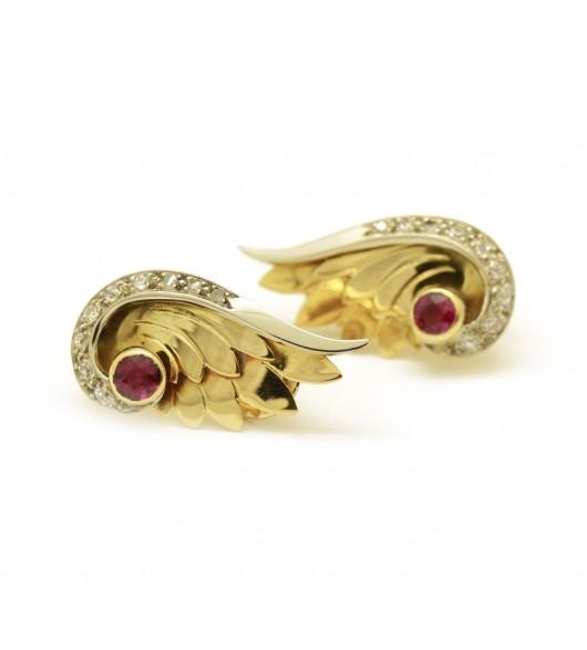 """Boucles d'oreilles """"Lucien Gardey"""" Or diamants - rubis"""