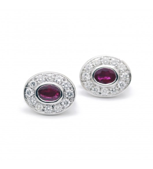 Boucles d'oreilles - Or, diamants et rubis