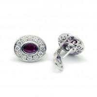 Boucles d'oreilles - Or, diamants et rubis