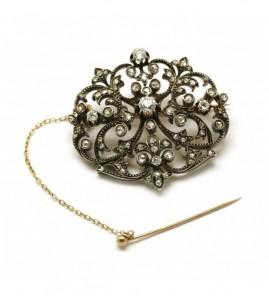 Broches XIXème - Or, Argent et diamants
