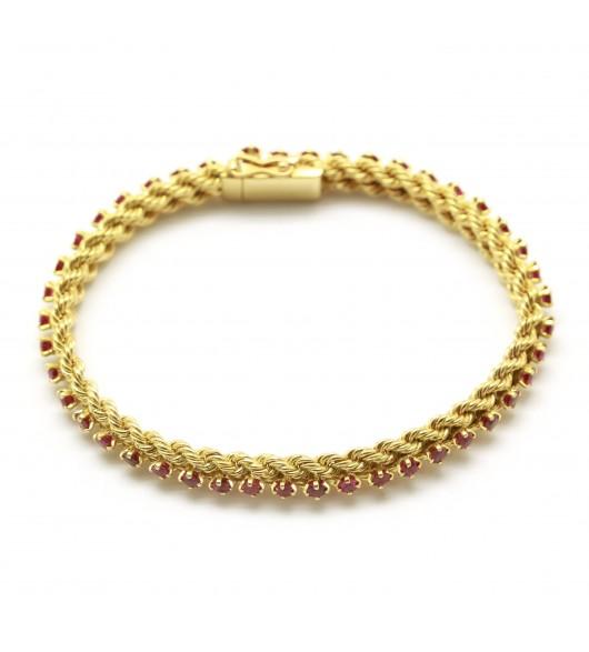 Bracelet torsadé - Or et rubis