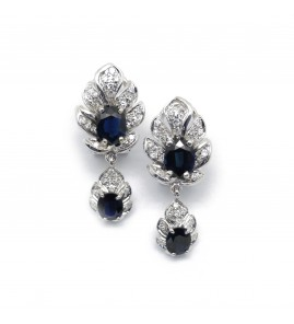 Boucles d'oreilles - Or, saphirs et diamants