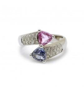 Bague Toi & Moi - Or, saphirs et diamants