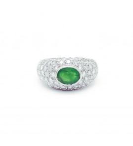 Bague - Or, diamants et emeraude