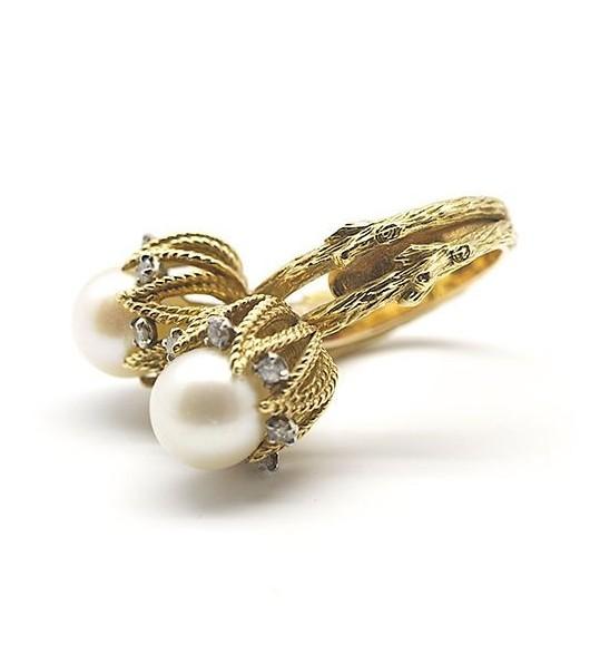 """Bague """"Toi & Moi"""" perles et diamants"""