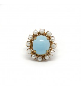Bague - Or, Turquoise et Perles