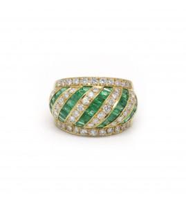 Bague - Or, Emeraudes Et Diamants