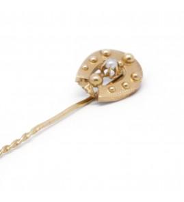 Epingle à cravate - Or et perle