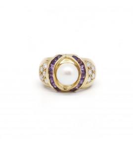 Bague - Or, Perle, Améthystes et Diamants