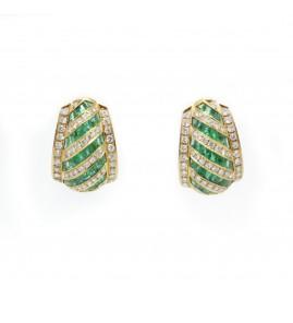 Boucles d'oreilles - Or, diamants et émeraudes
