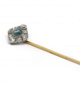 Epingle à cravate - Or, Saphir et diamants