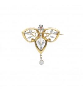 Broche - Or, diamants et rubis