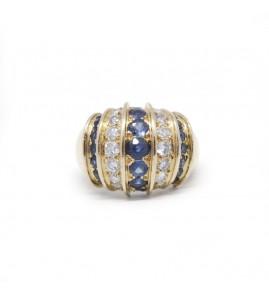 Bague - Or, Diamants Et Saphirs